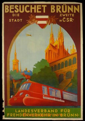 94313 - 1935 CESTOVNÍ RUCH  reklamní plakát, Brno, rychlík Slovenská