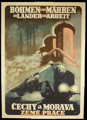 94320 - 1940 CESTOVNÍ RUCH  reklamní plakát, ČaM - země práce, parní