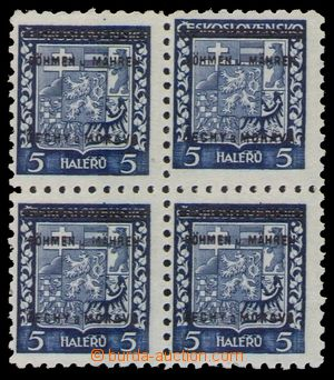 94632 - 1939 Pof.1, Znak 5h, 4-blok, u 1 zn. silně posunutá moletáž,