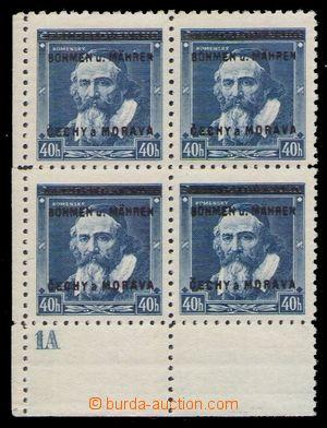 94799 - 1939 Pof.6, Komenský 40h, levý dolní rohový 4-blok, DČ1A, be