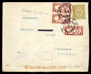 95373 - 1919 dopis z ciziny vyfr. rakouskými zn. Mi.194 + spěšnou Mi