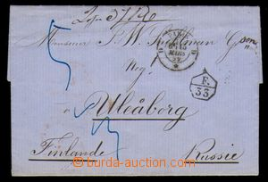95476 - 1859 skládaný předznámkový dopis adresovaný do Finska, podac