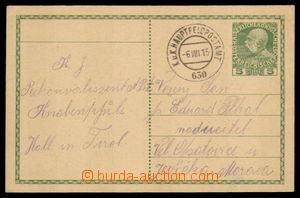 95480 - 1915 PC 5h, Mi.P216 sent as FP with cancel. K.u.K HAUPTFELDP