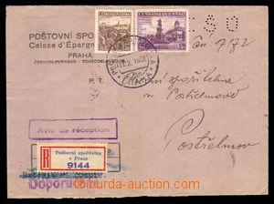 95722 - 1938 EVIDENCE ŠEKOVÝCH ÚČTŮ, perfin EŠÚ na obálce Poštovní s