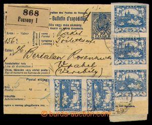 95885 - 1919 uherská mezinárodní balíková průvodka s kolkem 10f v mo