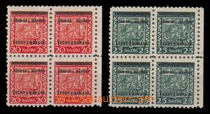 95986 - 1939 Pof.3, 4, Znak, 4-bloky, vynechané u v přetisku, zk. Gi