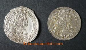 96102 - 1668-69 Čechy  Leopold I., sestava 2ks mincí 3Kr, mincovna W