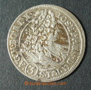 96104 - 1707 Čechy  Josef I., 3Kr, mincovna Vratislav, Ag, kvalita 3