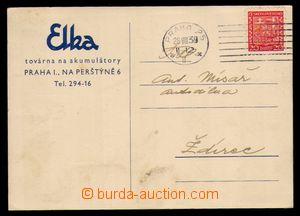 96262 - 1939 firemní lístek Elka, Praha, vyfr. zn. Státní znak 20h č