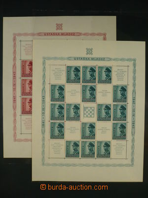 96374 - 1942-43 sestava 7ks aršíků, Mi.Bl.3A+B, Bl.5A+B, Bl.6, PL Mi