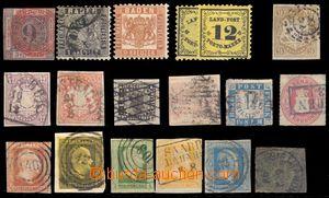 96445 - 1860-80 BADEN, BAYERN, BERGEDORF  sestava 18ks známek, mj. B