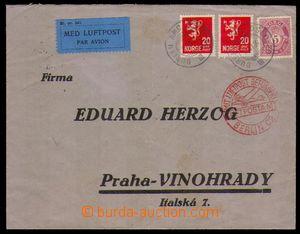 96455 - 1934 Let-dopis do ČSR, vyfr. zn. Mi. 96, 124 2x, DR OSLO 11.