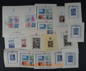 96491 - 1942-45 sestava 14ks aršíků od Mi.Bl.1, svěží + Jugoslávie M