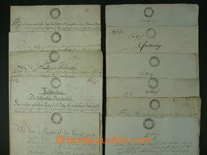 96860 - 1803 RAKOUSKO  konvolut 10ks listin s vtištěnými kolky emise
