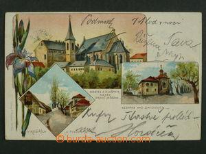 97443 - 1901 SMÍCHOV, KOŠÍŘE - litografická koláž, kosatec, DA, proš
