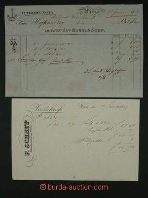 97595 - 1849-53 sestava 2ks předtištěných účtů s ozdobným z�