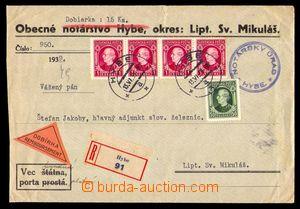 97797 - 1939 R+Dobírka na 15Sk, předtištěná obálka notářství, vyfr.