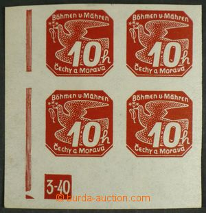 97986 - 1940 Pof.NV5 Pigeon-issue 10h, LL corner blk-of-4 with plate