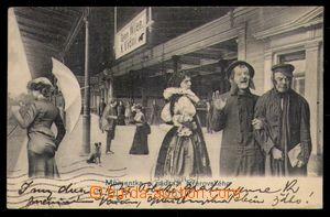 98072 - 1900 PŘEROV - koláž, nádraží, Židé, dívka v kroji, DA, zaslá