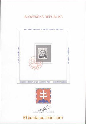 98115 - 1993 kat. Ervo ZNL002, zvláštní nálepní list prezident Kováč
