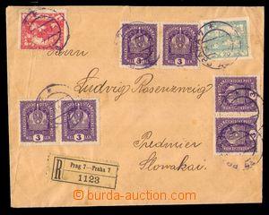 98141 - 1919 R-dopis s ojedinělou smíšenou frankaturou rakouských zn