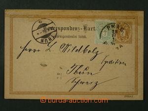 99607 - 1890 Mi.P62, dopisnice 2Kr, něm.-český text, adresovaná do Š
