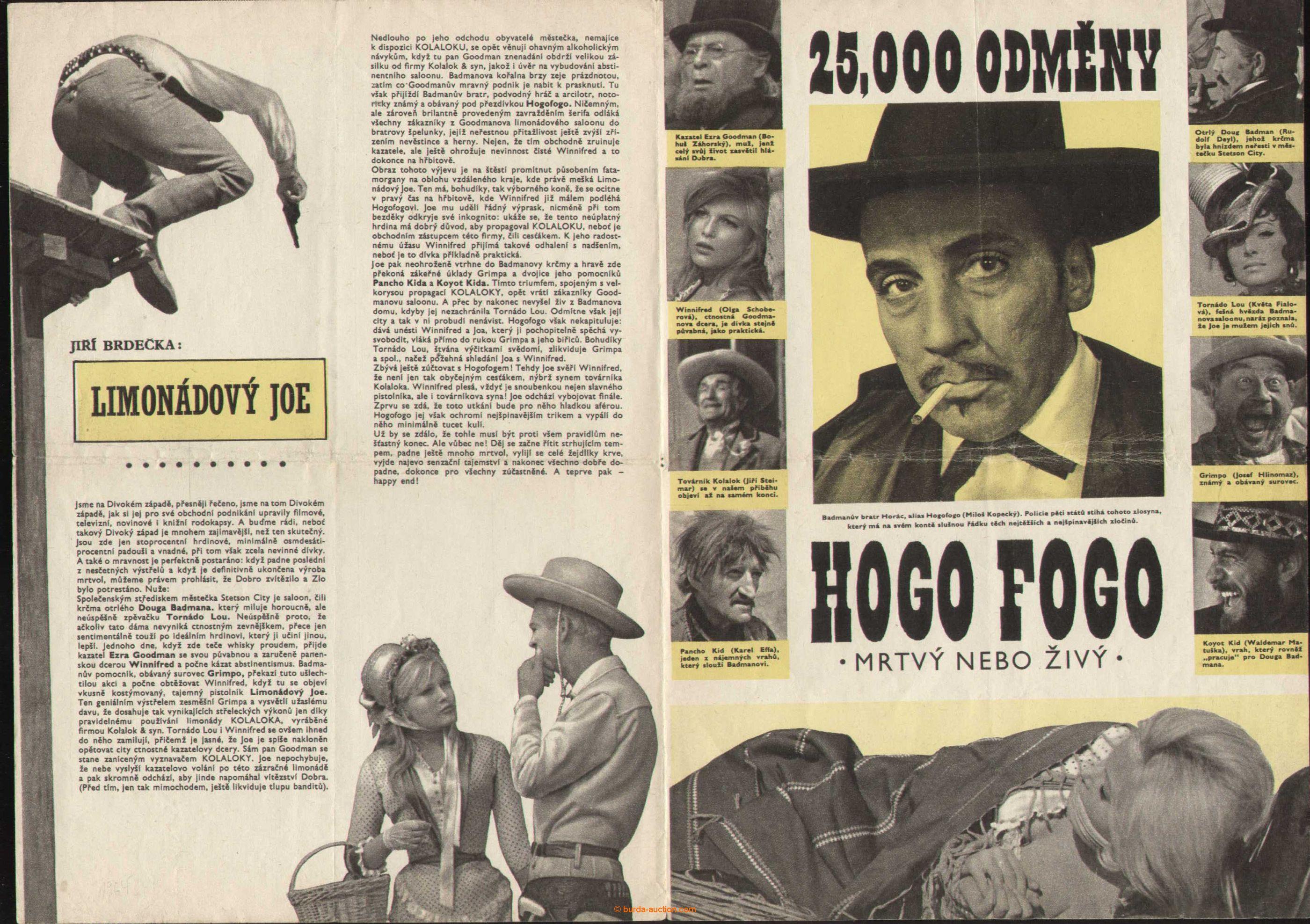 1954-64 MOVIE POSTERS, THEATRE Limonádový Joe, program Theatre estrády and  satiry