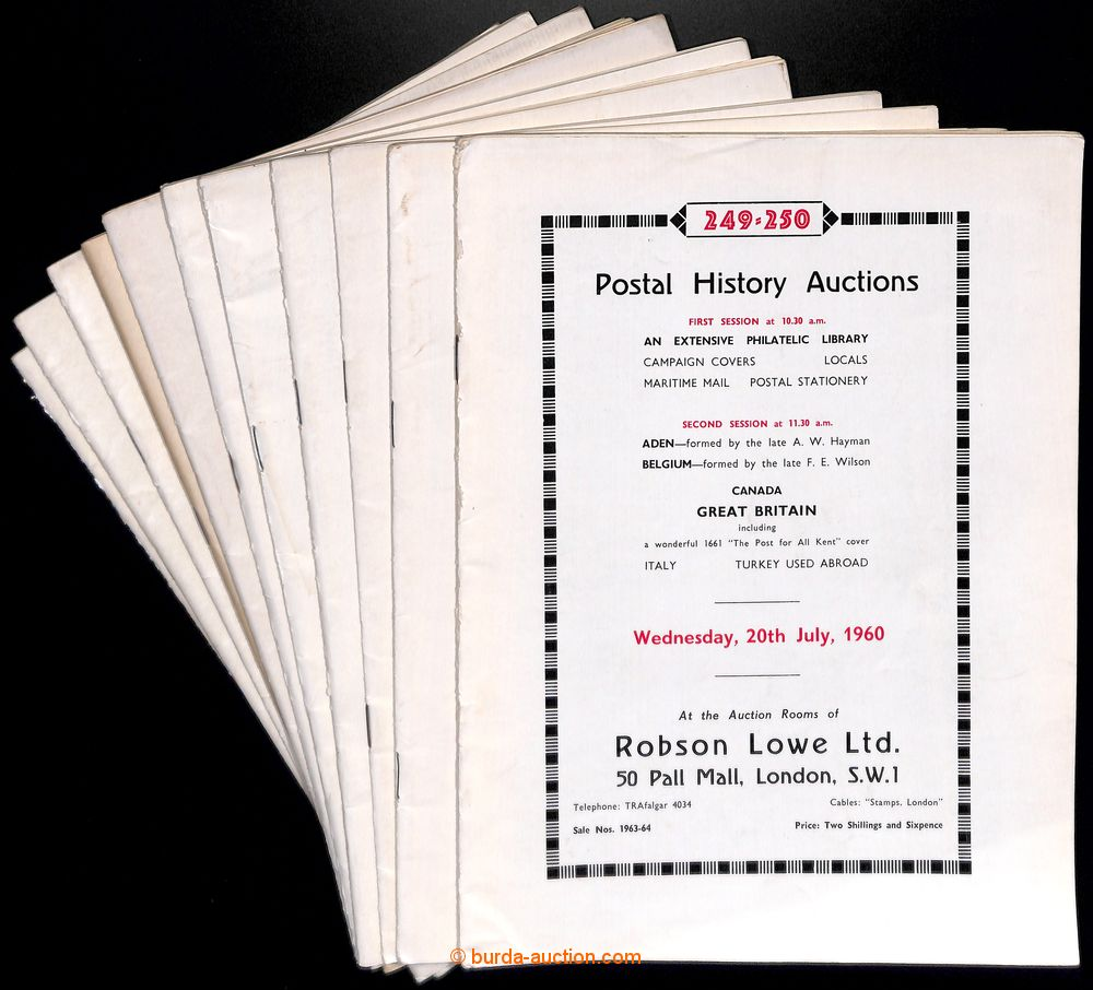 1958-60 GREAT BRITAIN / ROBSON LOWE LONDON - POSTAL HISTORY AUCTIONS  auction 212-250