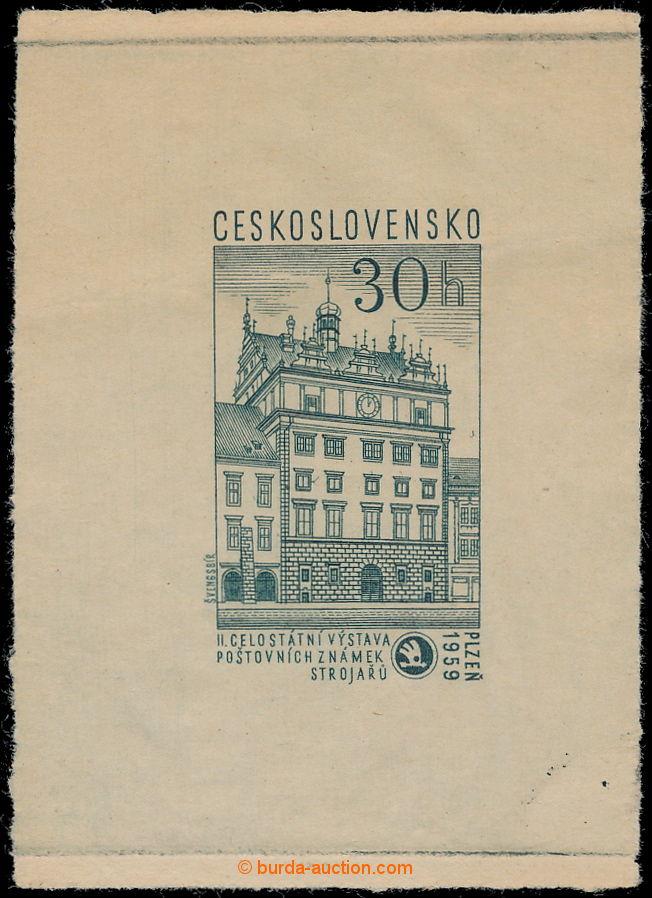 1959 ZT Pof 1050, 100 let Škody Plzeň 30h, zkusmý tisk - otisk původní  rytiny, definitivní