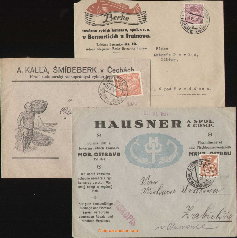 1920-37 FISHES comp  3 pcs of letters with advertising added print, Berko,  Bernartice